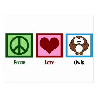 Postal Búhos del amor de la paz