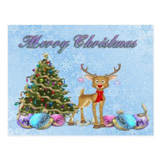 Postal Bulbos del navidad del árbol de navidad del reno