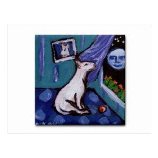 Postal Bull terrier mesmorized por la luna smiing grande