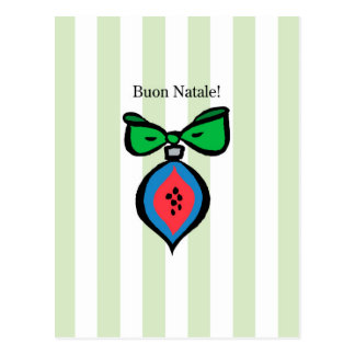 Postal Buon verde rojo/azul de Natale del ornamento de la