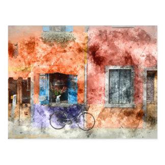 Postal Burano cerca de Venecia Italia