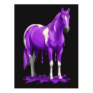 Postal Caballo mojado de la pintura del goteo púrpura