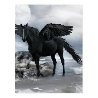 Postal caballo negro de Pegaso