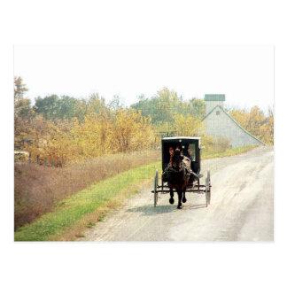 Postal Caballo y cochecillo de Amish del otoño