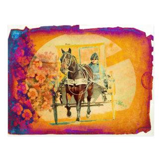 Postal Caballo y cochecillo florales de Amish del Grunge