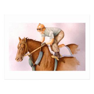 Postal Caballo y jinete de raza
