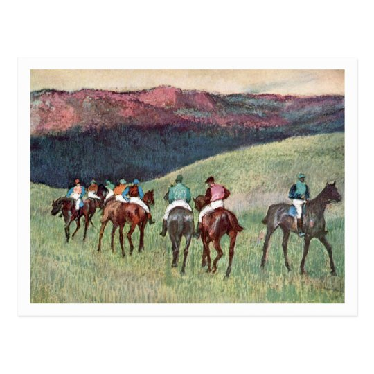 Postal Caballos de carreras en un paisaje de Edgar Degas