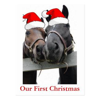 Postal Caballos del navidad