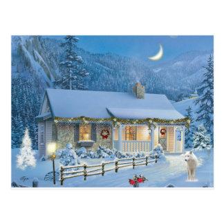 Postal Cabaña del invierno de la soledad del navidad