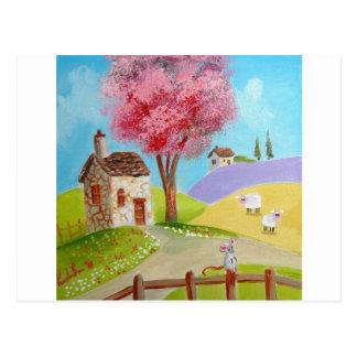 Postal Cabaña vieja de las ovejas del ratón del paisaje