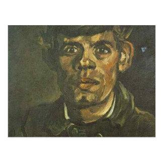 Postal cabeza de Vincent van Gogh de un campesino joven