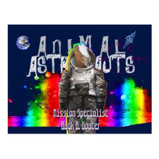 Postal Cabra animal de los astronautas