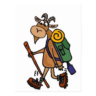 Postal Cabra divertida que camina arte