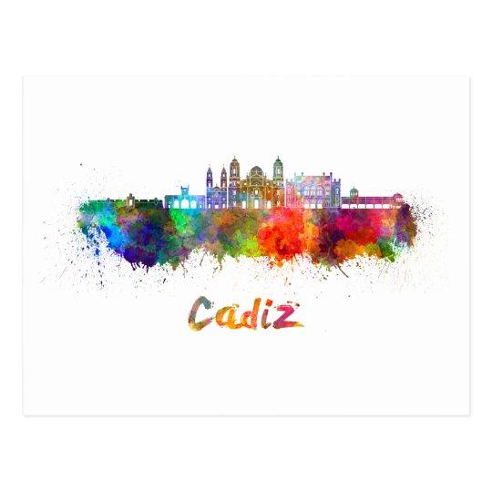 Postal Cadiz skyline in watercolor