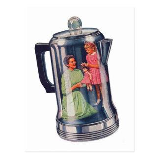 Postal Café Mama del percolador del kitsch retro del