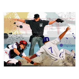 Postal Caja fuerte del jugador de béisbol en la meta