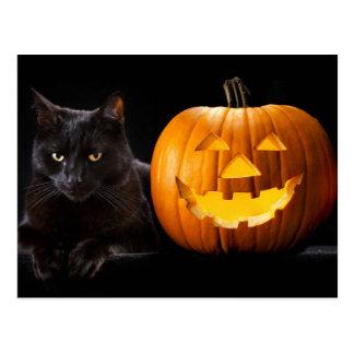 Postal Calabaza de Halloween y gato negro