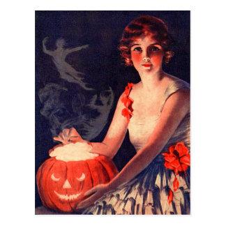 Postal Calabaza de la magia de Halloween del vintage