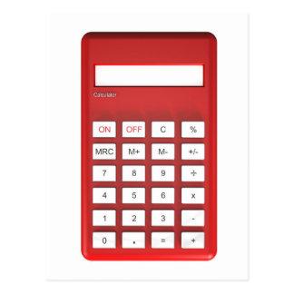 Postal Calculadora roja de la calculadora