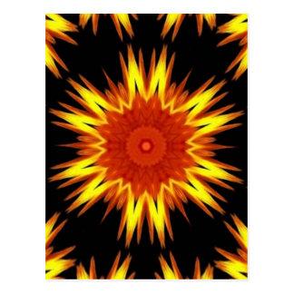 Postal Caleidoscopio amarillo-naranja ardiente de la
