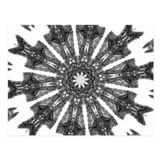 Postal Caleidoscopio blanco del parasol del negro