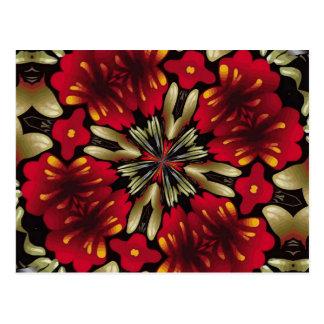 Postal Caleidoscopio rojo tropical de la mandala