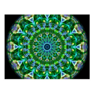 Postal Caleidoscopio verde de la primavera