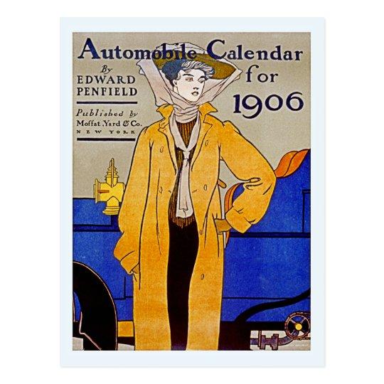 Calendario 1906.Postal Calendario 1906 Del Automovil De Nouveau Del Arte