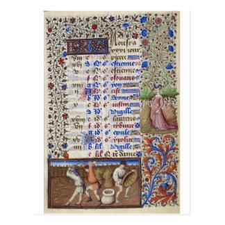 Postal Calendario medieval: Agosto