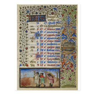 Postal Calendario medieval: Febrero