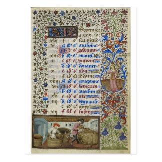 Postal Calendario medieval: Septiembre