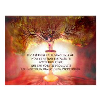 Postal Cáliz de Cristo con el poema: La hora santa