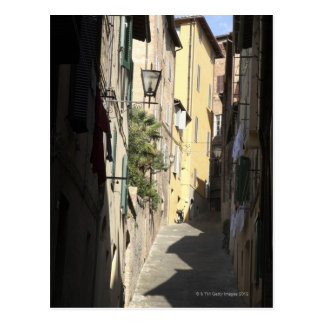 Postal Callejón estrecho, Siena, Italia