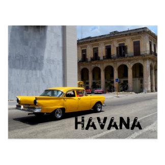 Postal Calles de La Habana Cuba del coche que cruzan