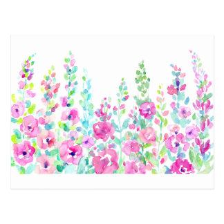 Postal Cama floral abstracta de la acuarela