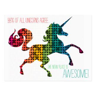 Postal Cambio de encargo del unicornio del arco iris de