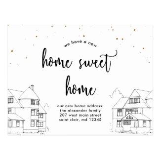 Postal Cambio de hogar dulce del hogar de la dirección