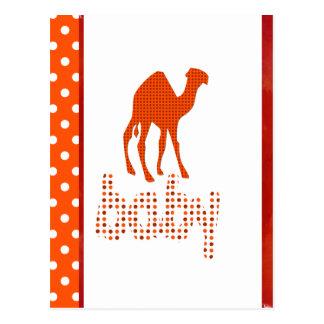 Postal Camello del rojo del diseño del bebé