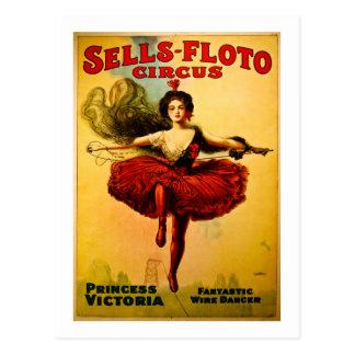 Postal Caminante del alambre del poster del circo de