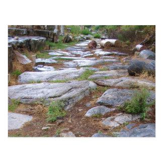 Postal Camino romano antiguo en la ciudad de Ephesus,