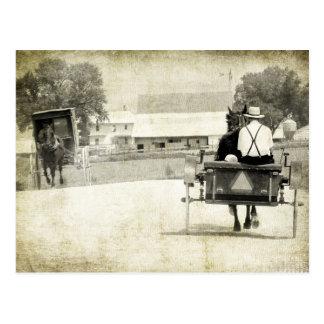 Postal Camino rural de la sepia de dos cochecillos de