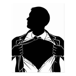 Postal Camisa de rasgado del hombre de negocios del super