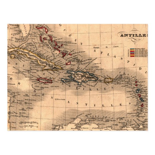 Postal Camisa vieja de la zambullida del mapa del Caribe
