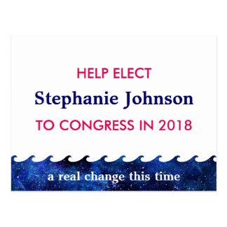 Postal Campaña electoral de azul de la onda 2018