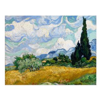 Postal Campo de trigo con los cipreses de Van Gogh