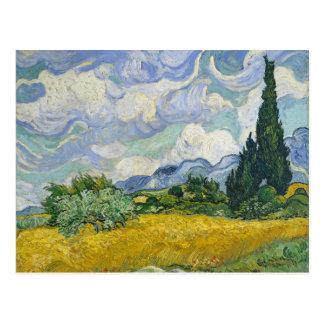 Postal Campo de trigo de Van Gogh con los cipreses