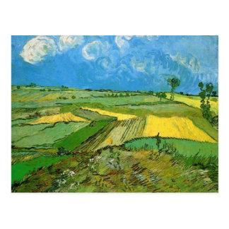 Postal Campos de trigo en Auvers debajo del cielo