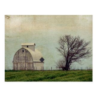 Postal Campos y granero de Kalona Iowa con el árbol