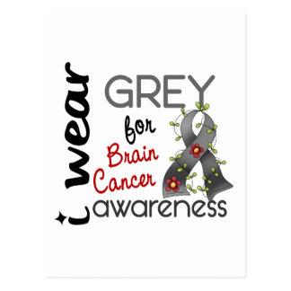 Postal Cáncer de cerebro llevo el gris para la conciencia
