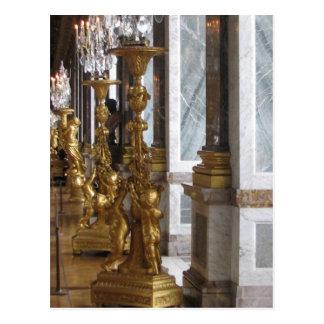 Postal Candelabras de oro, castillo francés de Versalles